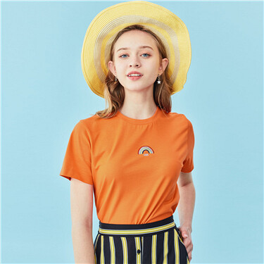Embroidery o-neck short sleeve
