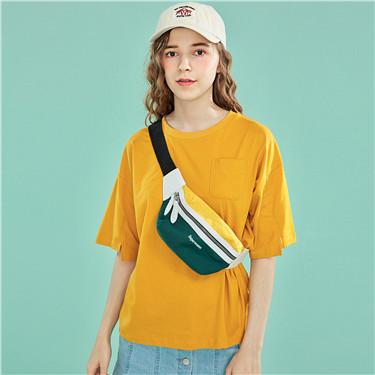 单口袋纯棉圆领短袖T恤