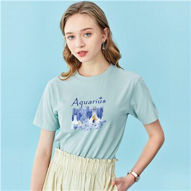Zodiac Aquarius printed crewneck tee