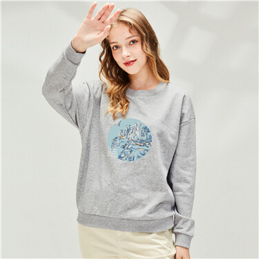 Printed loose crewneck sweatsh