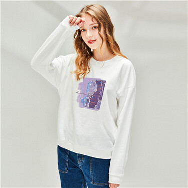 Printed Loose Crew Neck Sweatshirt