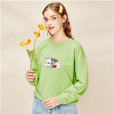 Printed loose o-neck sweatshir