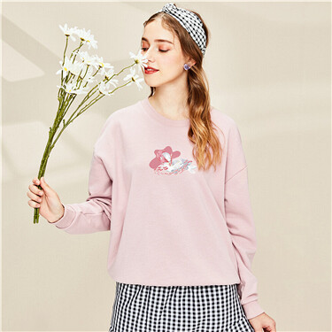 Printed loose o-neck sweatshirt