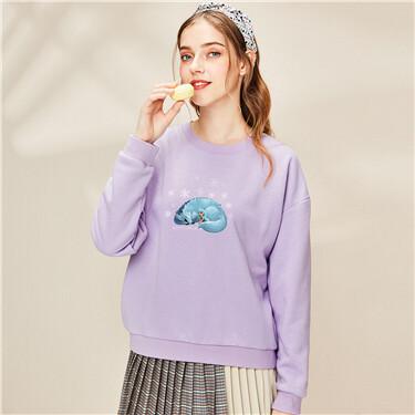 Printed loose o-neck sweatshirt