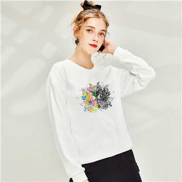 Printed loose crewneck sweatshirt