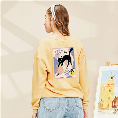 Printed Loose Round Neck Pullover Sweater