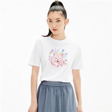 【南宫猫之梦联名】佐丹奴女圆镜猫咪纯棉圆领短袖t恤女