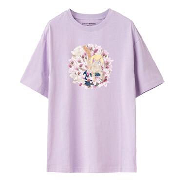 【南宫猫之梦联名】佐丹奴女花朵甜美纯棉圆领t恤女短袖