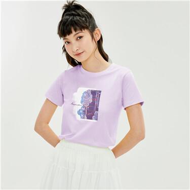 【艺术家黄守义联名】佐丹奴印花圆领t恤女短袖