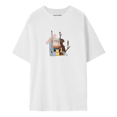 【艺术家魏迪联名】佐丹奴小提琴文艺个性粉色t恤女短袖
