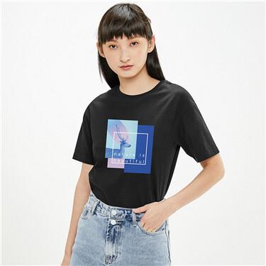 【艺术家张鑫联名】佐丹奴女撞色字母麋鹿短袖印花T恤女