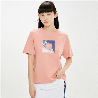 【艺术家黄守义联名】佐丹奴女装新款抽象纯棉t恤女短袖
