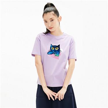 【艺术家陈慧联名】佐丹奴女生新款蓝猫清新ins短袖t恤女