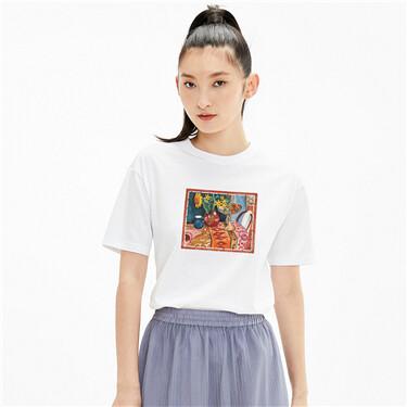 【艺术家魏迪联名】佐丹奴T恤油画向日葵圆领短款上衣女