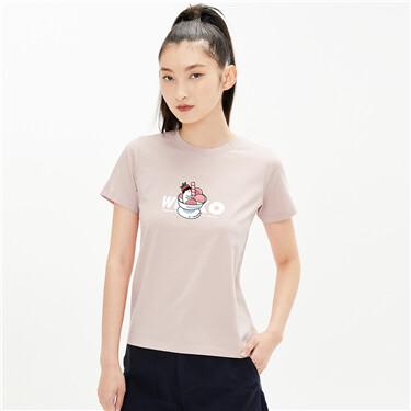 【WHIKO谜之生物联名】佐丹奴新款趣味雪糕纯棉短袖t恤女