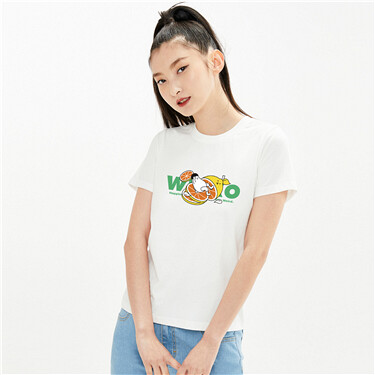 【WHIKO谜之生物联名】佐丹奴T恤夏季西柚洋气短款上衣女