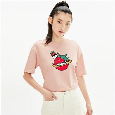 【WHIKO谜之生物联名】佐丹奴新款清新草莓休闲短袖t恤女