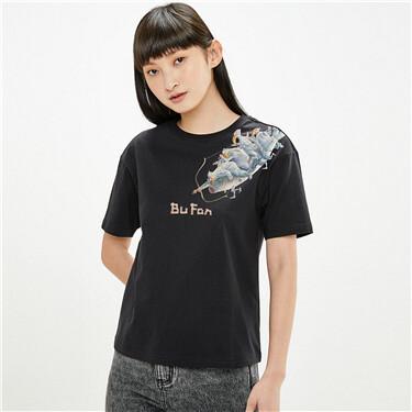 【艺术家卜番联名】佐丹奴T恤女装天使创意印花短袖t恤新款女