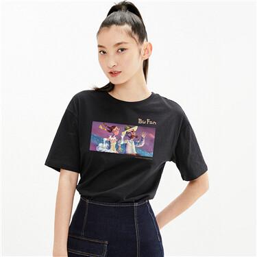 【艺术家卜番联名】佐丹奴女装T恤梵高图案卡通纯棉短袖新款
