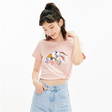 印花纯棉圆领短袖T恤