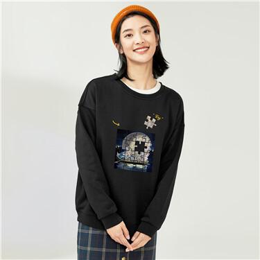 Printed crewneck loose sweatshirt