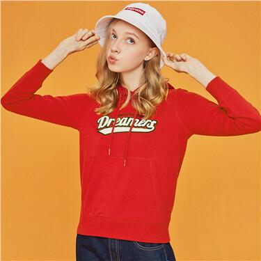 Contrast color crewneck loose sweatshirt