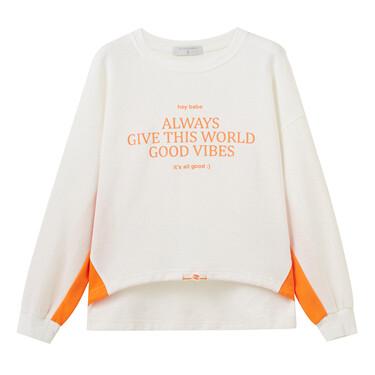 Contrast loose crewneck sweatshirt