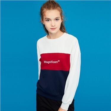 Embroidery crewneck long-sleeve sweatshirt