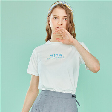 Printed Letter Crew Neck Tee
