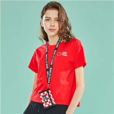 WHIKO系列印花純棉寬松圓領短袖T恤