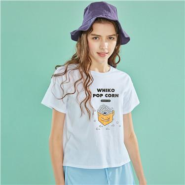 WHIKO系列印花宽松圆领短袖T恤