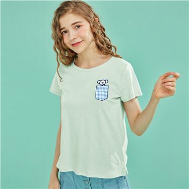 印花純棉圓領短袖T恤
