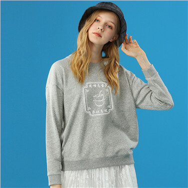 Printed loose long-sleeve sweatshirt