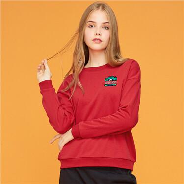 Printed fleece-lined sweatshirt
