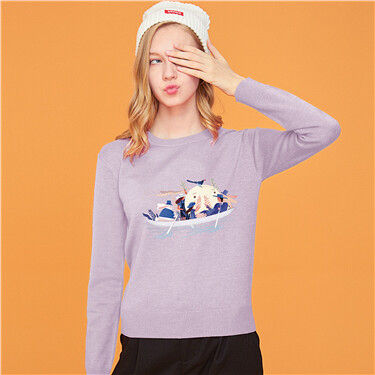 Solid printed crewneck sweatshirt