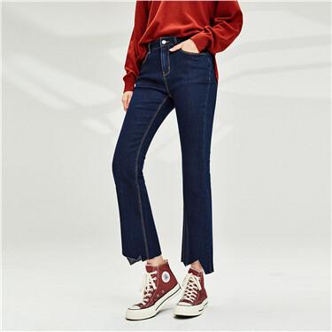 不规则缺口裤脚喇叭牛仔裤