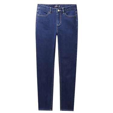 Stretchy fleeced straight ankle-length jeans