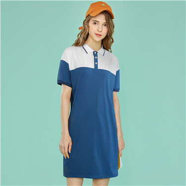 Contrast-colored stretchy polo dress