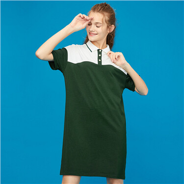 Contrast-color stretchy polo dress