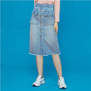 Button closure half placket denim skirt